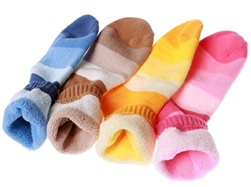 Fletion confezione da 4calzini di lana cotone moda inverno caldo bambini arcobaleno strisce calzini in (Arcobaleno Lana)