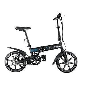 """SmartGyro Ebike Black - Bicicleta Eléctrica, Ruedas de 16"""", Asistente al Pedaleo, Plegable, Batería extraíble de litio de 4400 mAh, Freno V-Brake y Disco, Autonomía 30-50 Km, color Negro"""
