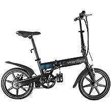 Smartgyro Ebike Black - Bicicleta Eléctrica Plegable con asistente al pedaleo, ruedas de 16