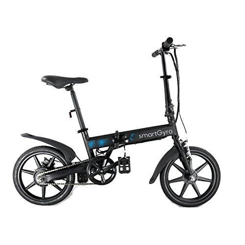 Smartgyro Ebike Black - Bicicleta Eléctrica Plegable con asistente al pedaleo,  ruedas de 16',Batería de litio de 4400- 36v, color negro