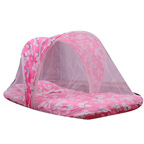 Guru Kripa Baby Products™ Presents - Baby Mattress With Mosquito Net Foldable Cot Net With Atech Mosquito Net & Include Pillow Soft Cotton Fabric Baby Mosquito Net Bed Age 0-9 Months (Pink)