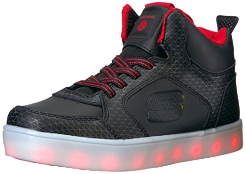 Skechers Jungen Energy Lights Tarvos Sneaker, Schwarz (Black/Red), 32 EU