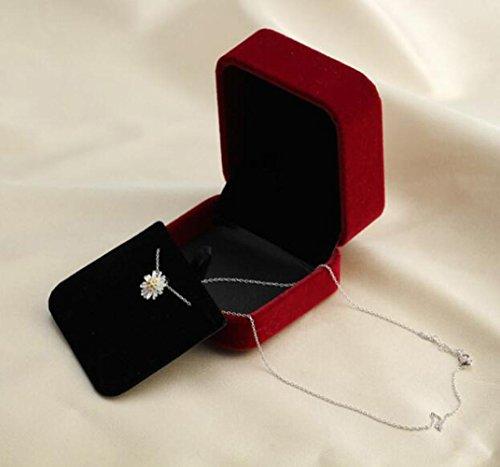 DUUMY Femmes S 925 en Argent Sterling Sertie de Diamants Coeur - Collier en Forme Clavicule de la Cha?ne Avec la Bo?te white