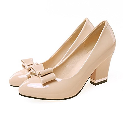 VogueZone009 Femme à Talon Haut Verni Couleur Unie Tire Pointu Chaussures Légeres Abricot
