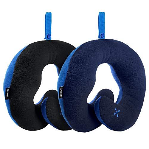 Bcozzy cuscino da viaggio per il collo con supporto per il mento - sostiene la testa, il collo e il mento nel massimo comfort. prodotto brevettato. sconto- set di 2. adulto, nero + blu marino