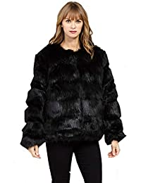 021171413be Stella Morgan Faux Fur Cropped Hip Open Front Black Grey Collarless Jacket  Coat