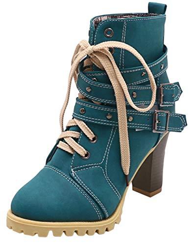 Scothen Stiefeletten Damenschuhe High Heel Stiefeletten Stilettoabsatz Reißverschluss Stiefeletten Martin Stiefel Schuhe Ankle Boots Frauen Plateau Schnürstiefel Schuhe Boots Leder-Optik Schuhe