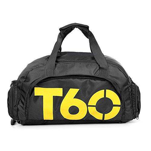 Obling 35L Sport Duffle Bag Unisex Groß Kapazität Gym Rucksack mit Fach für Schuhe, Unisex, Black with Yellow, 45 * 25 * 30 cm (Große Duffle Sport Bag)