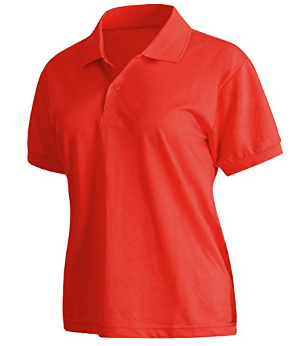 ililily Unisex Solid Short Sleeve Lightweight Stretch Jersey Knit Polo Shirt Top Red