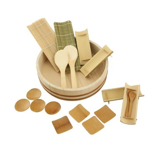 Hangiri is approx 3 tall X 10.5 across, Interior measures 2 3/4 deep X 9.5 across.;19 Piece bamboo sushi making kit, including 1 Hangiri (rice mixing bow), 2 paddles, 2 spoons, 2 rolling mats, 4 round dishes, 4 square dishes, and 4 Split Bamboo Plate...