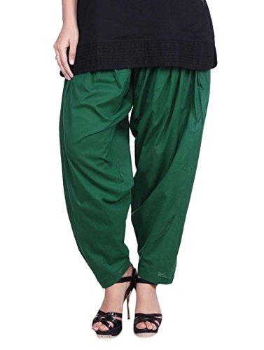 Stylenmart Cotton Bottle Green Semi Patiala Salwar for Women