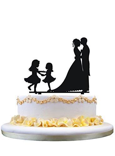 Braut-silhouette (Braut und Bräutigam Hochzeitstorte Topper Silhouette mit zwei Mädchen)