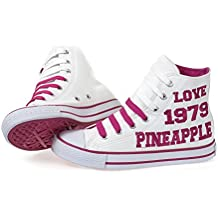 Womens Girls Canvas Hi Top Trainer Pumps From Pineapple Dance Star Studios White
