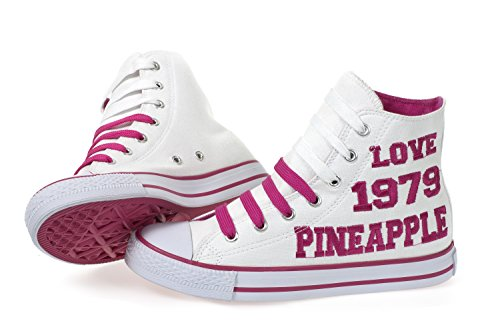 Pineapple Womens Girls Canvas Hi Top Trainer Pumps from Dance Star Studios White