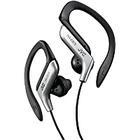 JVC HA-EB75 In-Ear Sweat Resistant Sports Headphones with Adjustable Clip - Silver