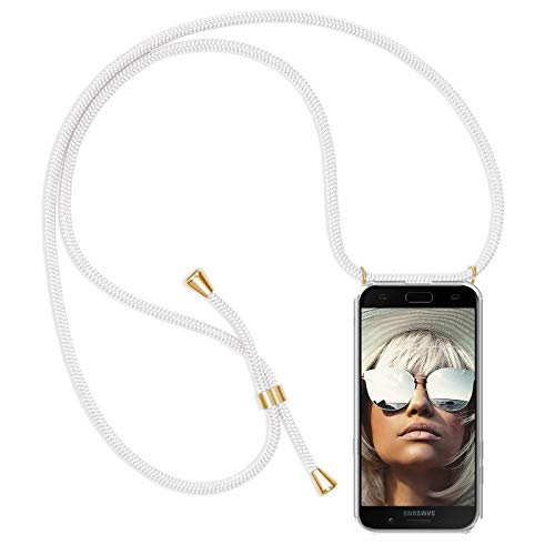 ZhinkArts Handykette kompatibel mit Samsung Galaxy A5 2017 (A520) - Smartphone Necklace Hülle mit Band - Schnur mit Case zum umhängen in Weiß