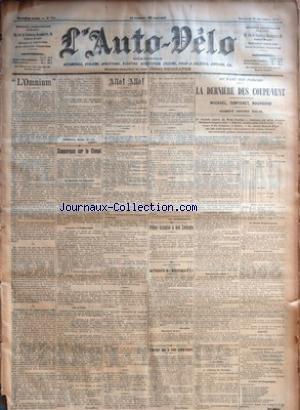 AUTO VELO (L') [No 700] du 14/09/1902 - +¼L'OMNIUM+« PAR ARIZONA, BARDE, PARADE, KERITY - ZIMMERMAN SUR LE CIMENT - LA MATINEE DU CHAMPION - FOURNIER ET ZIMMERMAN - SUR LA PISTE PAR GEO LEFEVRE - ALLO ! ALLO ! - PRIME GRATUITE A NOS LECTEURS - AERONAUTIQUE - LES PREPARATIFS DU +¼MEDITERRANEEN N-ü 2+« - DERNIERE HEURE PAR A. - L'AMERIQUE DANS LA COUPE GORDON-BENNETT PAR HENRI SONNET - AU PARC DES PRINCES - LA DERNIERE DES COUPE-VENT - MICHAEL, CONTENET, BOUHOURS - OSM par Collectif