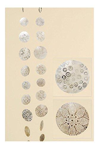 B.H.C. Curley, Capiz, Girlande, Windspiel, Set bestehend aus 2 STK je 1,80 m Länge, Design in Weiss und silberfarben, Perlmutt