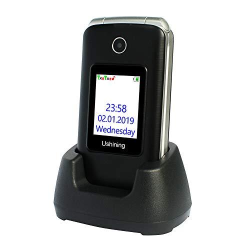 3G Seniorenhandy Ohne Vertrag, Großtasten Klapphandy Einfach Mobiltelefon mit Ladestation (Großen-Taste, 2,8 Zoll LCD, FM Radio, Dual Display, Dual SIM 2G + 3G) - Schwarz