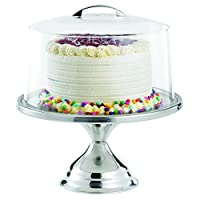 TableCraft Cake Stand and Plastic Cover with Metal Handle, 33 x 33 x 35 cm