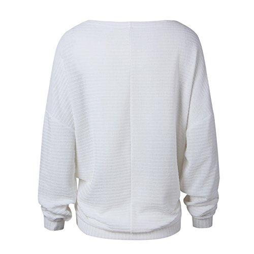 Pull Maille Femme Pull Oversize Manches Longues Col Rond Ample Chaud Hiver Pull Sweater Loose Large Tricot Chandail Jumper Chandails Tops Pull Beau Automne Blanc