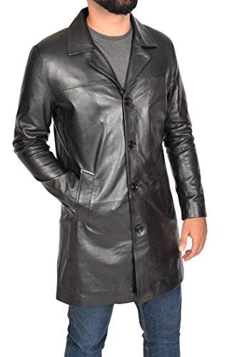 Herren Echtes Lammfell Leder Crombie 3/4 Länge Blazer Button Box Mantel Jimmy Schwarz (Small) (Button Lammfell Leder Ein Blazer)