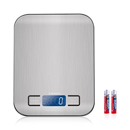 Digitale Küchenwaage, Laneco Digitalwaage, Hohe Präzision auf bis zu 1g (10kg Maximalgewicht), Tara-Funktion Electronische Waage, Großem LCD-Anzeige Küchenwaage, Inkl. Batterie