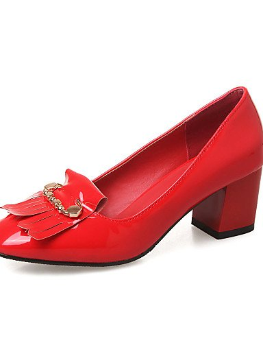 WSS 2016 Chaussures Femme-Bureau & Travail / Décontracté-Noir / Bleu / Rouge / Blanc-Gros Talon-Talons / Bout Carré-Chaussures à Talons-Cuir Verni red-us8 / eu39 / uk6 / cn39