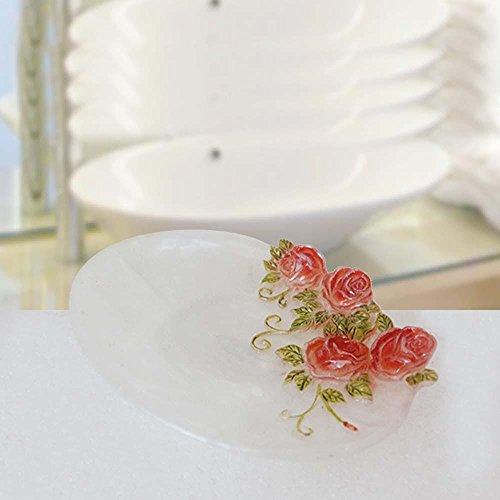 YFF@ILU Bagno stile idee jade white rose garden sapone di resina ripiano porta (Rose Garden Di Bambù)