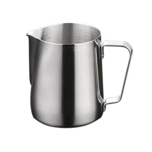 BESTOMZ Milchkännchen, Milk Pitcher 150ml Milchkanne aus Edelstahl, Milch Aufschäumen für Cappuccino und Latté, Silber thumbnail