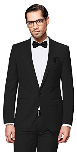 Herren Designer Smoking (PABLO CASSINI Herren Anzug Fine Art - 7 teilig - Schwarz Smoking Hochzeit Business PCS_1 (48))