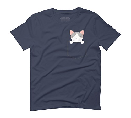 Pocket Cat Is Kawaii and Cute Men's Graphic T-Shirt - Design By Humans Navy