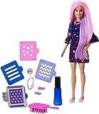 Barbie FHX00 Haarfarben-Spaß Puppe (lila Haare) mit Farbwechsel inkl. Accessoires und Schablonen und Galaxie-Print Kleid, ab 5 Jahren