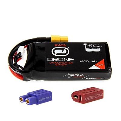 Venom 75C 3S 1300mAh 11.1V Drone Racing LiPo Battery with Universal 2.0 Plug (XT60/Deans/EC3)