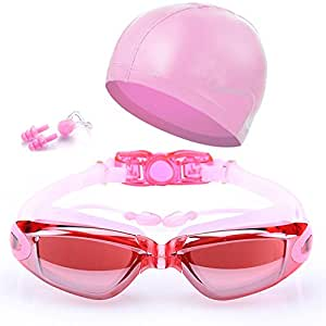 Nr.1 Schwimmbrille Atelic® Goggles Cap Schwimmen Keine Undichte Antibeschlag UV Schutzausrüstung Triathlon-Schwimmbrille mit kostenlosen Schutzhülle für Männer Frauen Jugend Kinder Kind
