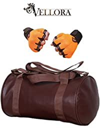 VELLORA Leather Soft Gym Bag (Brown) With Netted Gym & Fitness Gloves With Wrist Support Orange Color