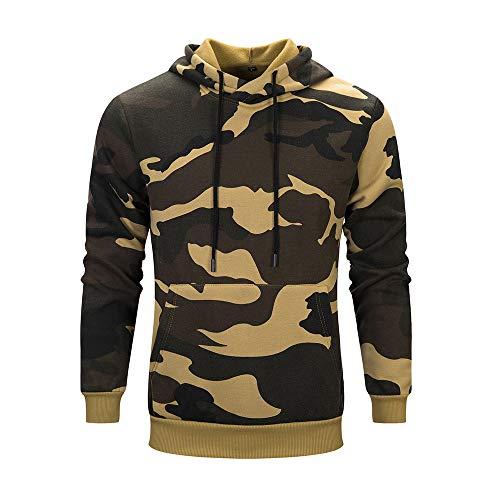 Baofull Herrenbekleidung Moderne Strickjacken Herren Pulli Jungen Sweatshirt Herren Pullover Herbst Winter Camouflage Langarm Freizeit Männer Hoodie Sweatshirt Bluse Khaki Small