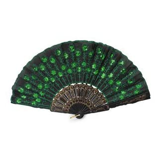 AllLife Dance Party Lace Silk Folding Hand Held Fan Sequins Flower Spanish Style Green