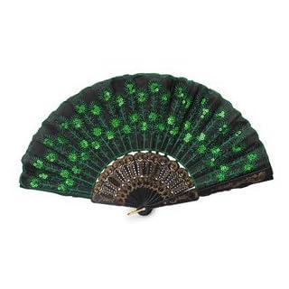 AllLife Handfächer, spanischer Stil, faltbar, mit Pailletten, Grün
