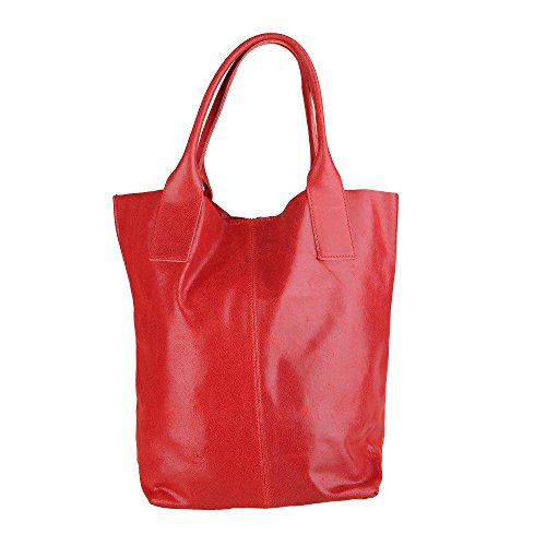 Chicca Borse Handbag Shopper Borsa a Mano da Donna in Vera Pelle Made in Italy 39x36x20 Cm Rosso