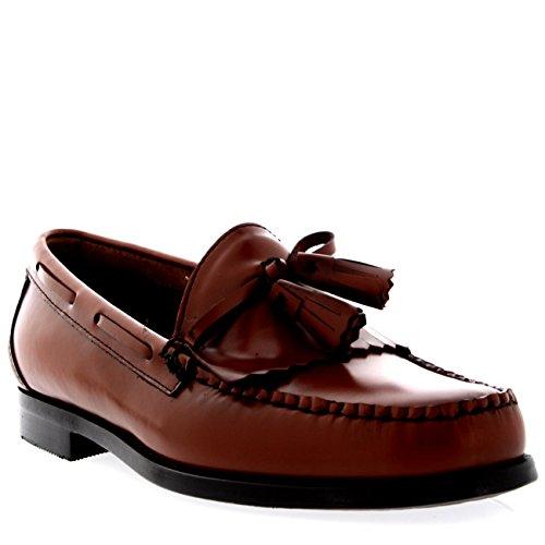 Bass Braun Loafer (Herren G.H Bass Weejuns Layton Moc Kiltie Müßiggänger Büro Leder Schuhe - Mid Braun - 44)