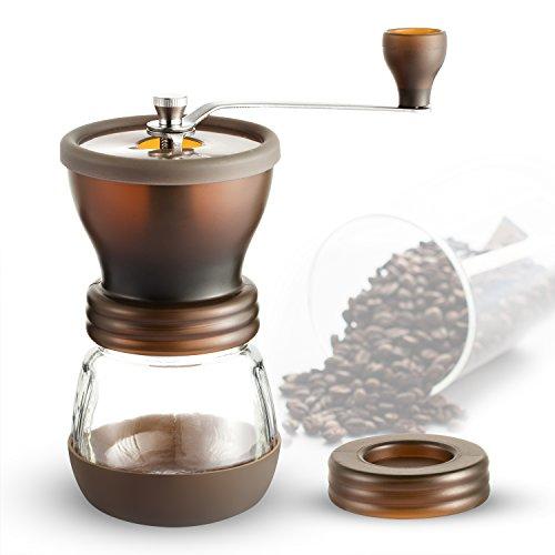 Macinacaffè, Coolife Macinacaffè Manuale a Manovella - Macina Caffè con Macina in Ceramica per Chicchi di Caffè Americano Moka Cappuccino e Caffè freddo(Marrone)