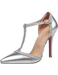 27b33451cb0bea Agodor Damen T-Spangen High Heels Sandalen mit Spitze und Schnalle Stiletto  Riemchen Lack Pumps
