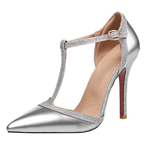 King Of Shoes - Zapatos de Tacón Mujer , color plateado, talla 37 EU
