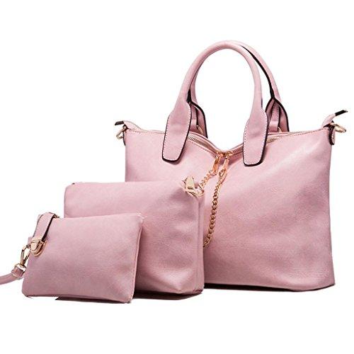 Le donne della borsa a tracolla in pelle Messenger Bag Satchel Purse Tote,Fami (Rosa)