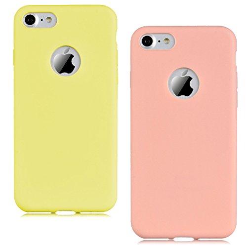 Cover iPhone 7 (4.7),ToDo iPhone 7 Custodia Silicone Ultra Morbido Satinate Opaco Ultra Sottile TPU Flessibile Gomma Cassa Protettiva Gel [Anti-scivolo] [Anti-Graffio] [Antiurto] Leggero Cellulari Pr Giallo + Rosa