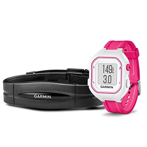 Garmin Forerunner 25Paket mit Herzfrequenz Monitor, klein, weiß und pink - Gps-herzfrequenz-monitor Garmin