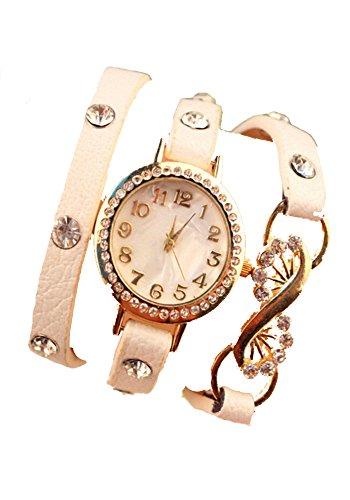 SAMGU cuir strass Montre couche Montre-bracelet de modèle de paon de queue rétro femmes robe montre Couleur Multicolore