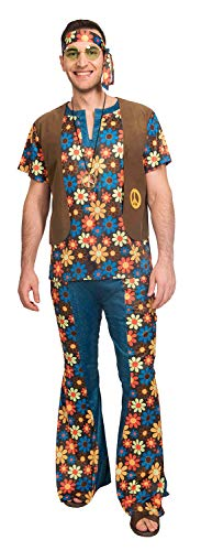Hirsch Kostüm Outfit - Fancy Me Herren Hippie-Kostüm Hippie Hippie 60er 70er Jahre Festival Hirsch Do Kostüm Outfit STD XL