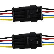 2pcs 4-Pin etanche conector eléctrico enchufe coches pines con Wire AWG Marina